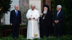 Peres Papa Francesco Bartolomeo I Abu Mazen