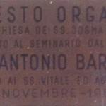 Targa dell'organo della cappella